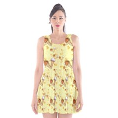 Funny Sunny Ice Cream Cone Cornet Yellow Pattern  Scoop Neck Skater Dress by yoursparklingshop