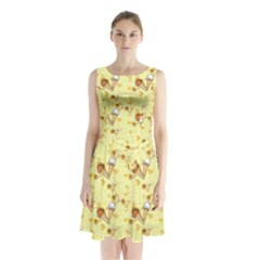 Funny Sunny Ice Cream Cone Cornet Yellow Pattern  Sleeveless Waist Tie Chiffon Dress by yoursparklingshop