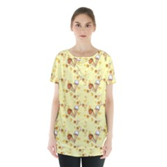 Funny Sunny Ice Cream Cone Cornet Yellow Pattern  Skirt Hem Sports Top by yoursparklingshop