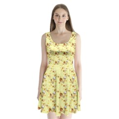 Funny Sunny Ice Cream Cone Cornet Yellow Pattern  Split Back Mini Dress  by yoursparklingshop