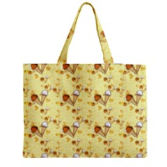 Funny Sunny Ice Cream Cone Cornet Yellow Pattern  Zipper Medium Tote Bag by yoursparklingshop