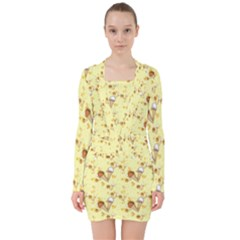 Funny Sunny Ice Cream Cone Cornet Yellow Pattern  V Neck Bodycon Long Sleeve Dress by yoursparklingshop