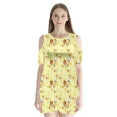 Funny Sunny Ice Cream Cone Cornet Yellow Pattern  Shoulder Cutout Velvet One Piece by yoursparklingshop
