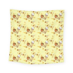 Funny Sunny Ice Cream Cone Cornet Yellow Pattern  Square Tapestry (small) by yoursparklingshop