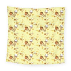 Funny Sunny Ice Cream Cone Cornet Yellow Pattern  Square Tapestry (large) by yoursparklingshop