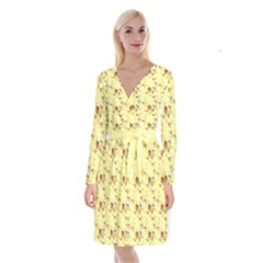 Funny Sunny Ice Cream Cone Cornet Yellow Pattern  Long Sleeve Velvet Front Wrap Dress by yoursparklingshop