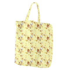 Funny Sunny Ice Cream Cone Cornet Yellow Pattern  Giant Grocery Zipper Tote by yoursparklingshop