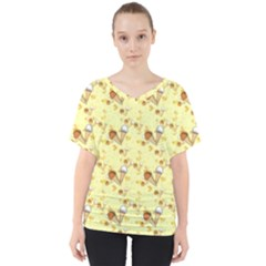 Funny Sunny Ice Cream Cone Cornet Yellow Pattern  V Neck Dolman Drape Top by yoursparklingshop