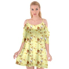 Funny Sunny Ice Cream Cone Cornet Yellow Pattern  Cutout Spaghetti Strap Chiffon Dress by yoursparklingshop