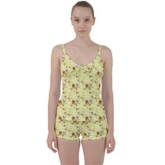 Funny Sunny Ice Cream Cone Cornet Yellow Pattern  Tie Front Two Piece Tankini by yoursparklingshop