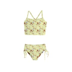 Funny Sunny Ice Cream Cone Cornet Yellow Pattern  Girls  Tankini Swimsuit by yoursparklingshop