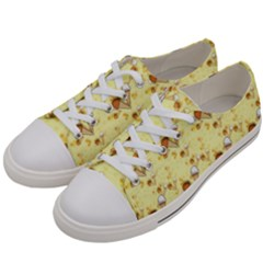 Funny Sunny Ice Cream Cone Cornet Yellow Pattern  Women s Low Top Canvas Sneakers by yoursparklingshop