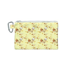 Funny Sunny Ice Cream Cone Cornet Yellow Pattern  Canvas Cosmetic Bag (small) by yoursparklingshop