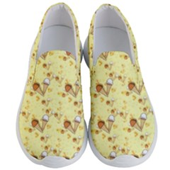 Funny Sunny Ice Cream Cone Cornet Yellow Pattern  Men s Lightweight Slip Ons by yoursparklingshop