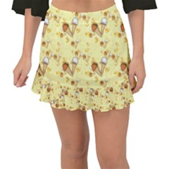 Funny Sunny Ice Cream Cone Cornet Yellow Pattern  Fishtail Mini Chiffon Skirt by yoursparklingshop