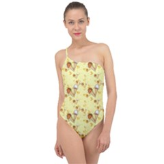 Funny Sunny Ice Cream Cone Cornet Yellow Pattern  Classic One Shoulder Swimsuit by yoursparklingshop