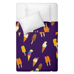 Ice Cream Cone Cornet Blue Summer Season Food Funny Pattern Duvet Cover Double Side (single Size) by yoursparklingshop