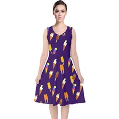 Ice Cream Cone Cornet Blue Summer Season Food Funny Pattern V Neck Midi Sleeveless Dress