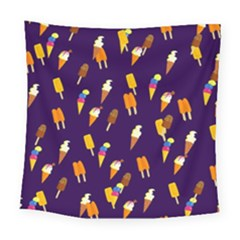 Ice Cream Cone Cornet Blue Summer Season Food Funny Pattern Square Tapestry (large) by yoursparklingshop