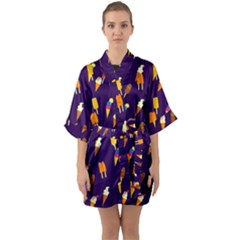 Ice Cream Cone Cornet Blue Summer Season Food Funny Pattern Quarter Sleeve Kimono Robe by yoursparklingshop