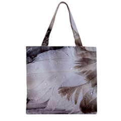 Feather Brown Gray White Natural Photography Elegant Zipper Grocery Tote Bag by yoursparklingshop