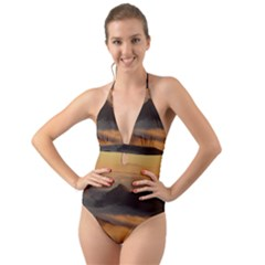 Homberg Clouds Selva Marine Halter Cut Out One Piece Swimsuit