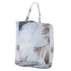 Feather Brown Gray White Natural Photography Elegant Giant Grocery Zipper Tote by yoursparklingshop