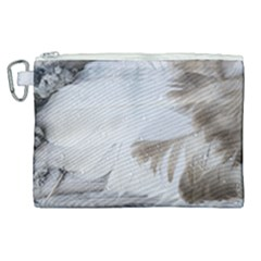 Feather Brown Gray White Natural Photography Elegant Canvas Cosmetic Bag (xl)