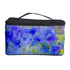 Abstract Blue Texture Pattern Cosmetic Storage Case