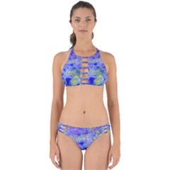 Abstract Blue Texture Pattern Perfectly Cut Out Bikini Set