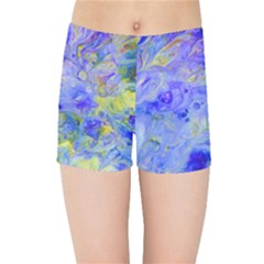 Abstract Blue Texture Pattern Kids Sports Shorts