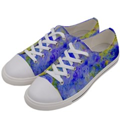 Abstract Blue Texture Pattern Women s Low Top Canvas Sneakers by Simbadda
