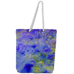 Abstract Blue Texture Pattern Full Print Rope Handle Tote (large)