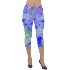 Abstract Blue Texture Pattern Lightweight Velour Capri Leggings  by Simbadda