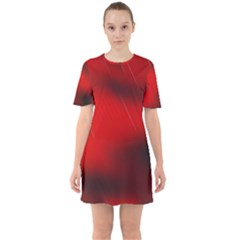 Red Black Abstract Sixties Short Sleeve Mini Dress