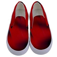 Red Black Abstract Kids  Canvas Slip Ons