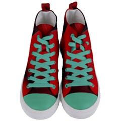 Red Black Abstract Women s Mid Top Canvas Sneakers