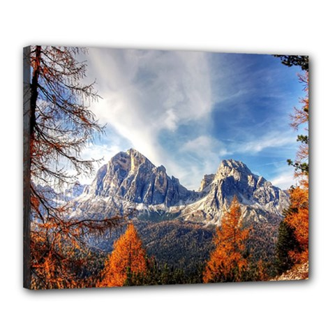 Dolomites Mountains Italy Alpine Canvas 20  X 16  by Simbadda