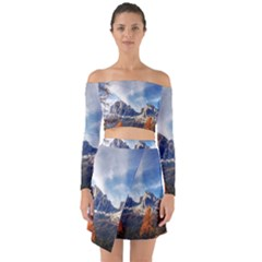 Dolomites Mountains Italy Alpine Off Shoulder Top With Skirt Set