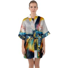 Art Painting Abstract Yangon Quarter Sleeve Kimono Robe
