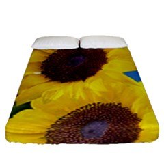 Sunflower Floral Yellow Blue Sky Flowers Photography Fitted Sheet (queen Size) by yoursparklingshop