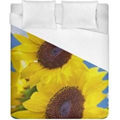 Sunflower Floral Yellow Blue Sky Flowers Photography Duvet Cover (california King Size) by yoursparklingshop