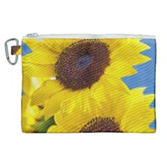 Sunflower Floral Yellow Blue Sky Flowers Photography Canvas Cosmetic Bag (xl)