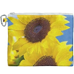 Sunflower Floral Yellow Blue Sky Flowers Photography Canvas Cosmetic Bag (xxxl) by yoursparklingshop