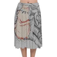 Hand Finger Drawing Fingernails Velvet Flared Midi Skirt