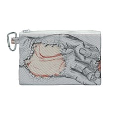 Hand Finger Drawing Fingernails Canvas Cosmetic Bag (medium) by Simbadda