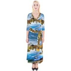 Dolomites Mountains Italy Alpin Quarter Sleeve Wrap Maxi Dress by Simbadda