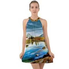 Dolomites Mountains Italy Alpin Halter Tie Back Chiffon Dress