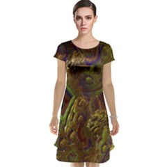 Fractal Virtual Abstract Cap Sleeve Nightdress