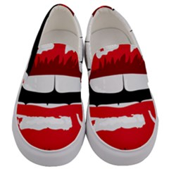 Sexy Lips Men s Canvas Slip Ons